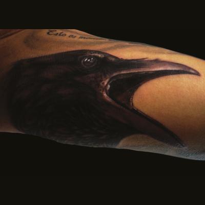 Tatuaje con un cuervo