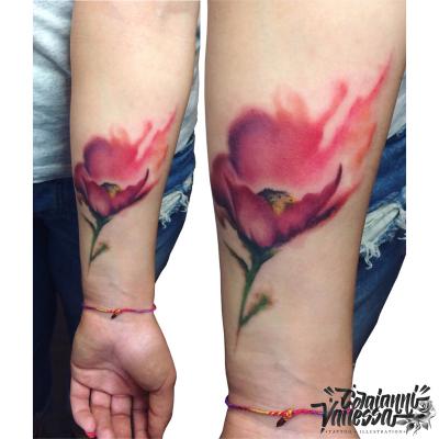 Amapola acuarela tattoo