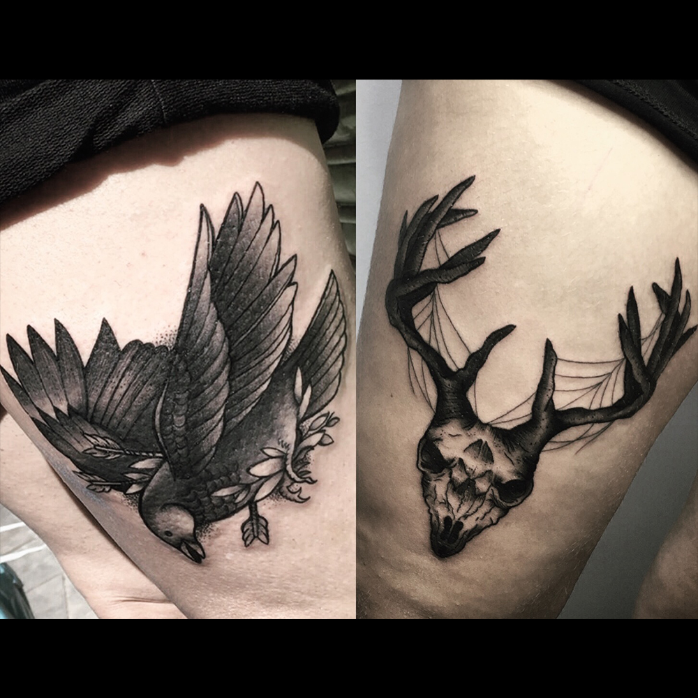 Mirlo, black bird ( (new traditional style)