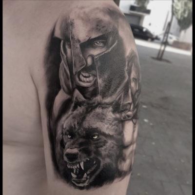 Leónidas y lobo ( Los 300 )
