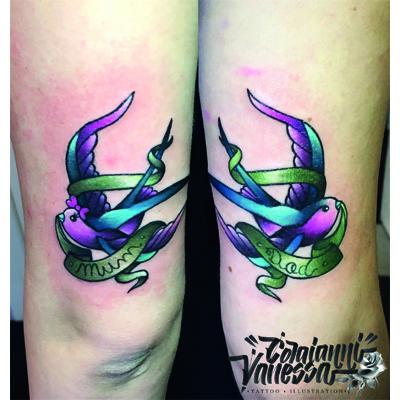 Familia de golondrinas tatoo New Traditional
