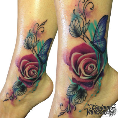 Técnica watercolor rosas y mariposas