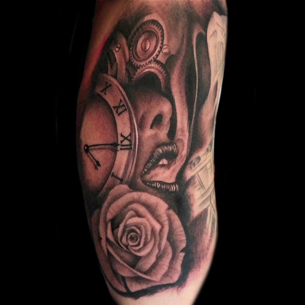 Time realistic tattoo